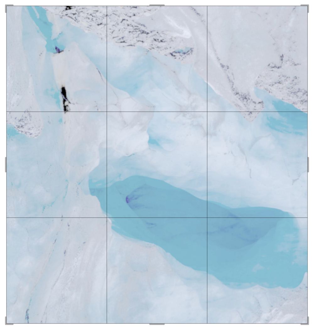 Piqaluyak / Part VIII,  2019 Aquarelle, wax pastels, UV-print on paper beneath structured Plexiglas 240 x 240 cm (95 x 95 in)