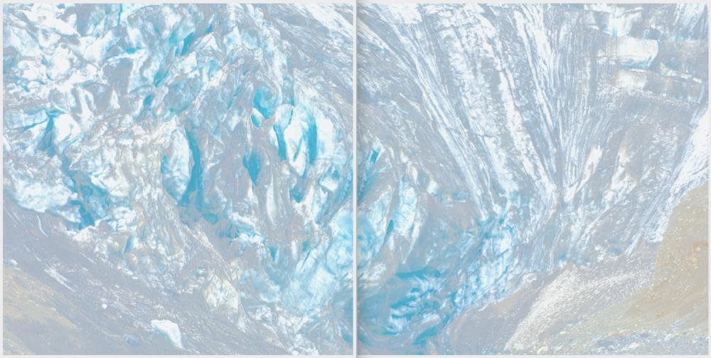 Piqaluyak / Part X (Diptych),  2019 Aquarelle, wax pastels, UV-print on paper beneath structured Plexiglas 300 x 150 cm (118 x 59 in)