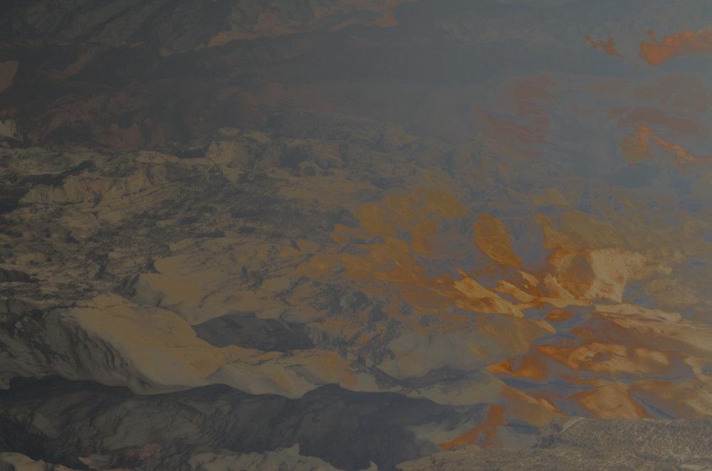 Atlas Obscura (The Dictaean Cave) / Part I,  2019 Wax pastels, UV-print on aluminium 180 x 150 cm (71 x 59 in)