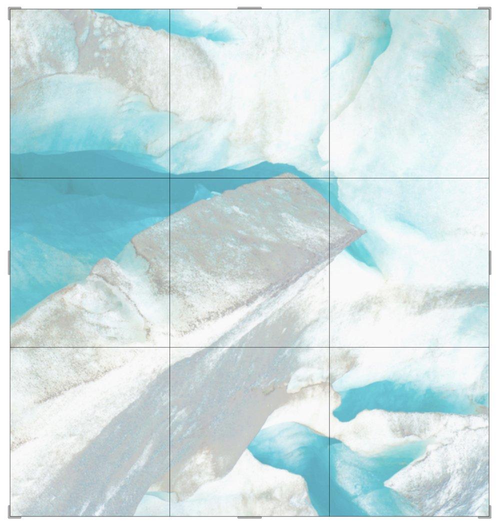 Piqaluyak / Part VII,  2019 Aquarelle, wax pastels, UV-print on paper beneath structured Plexiglas 240 x 240 cm (95 x 95 in)
