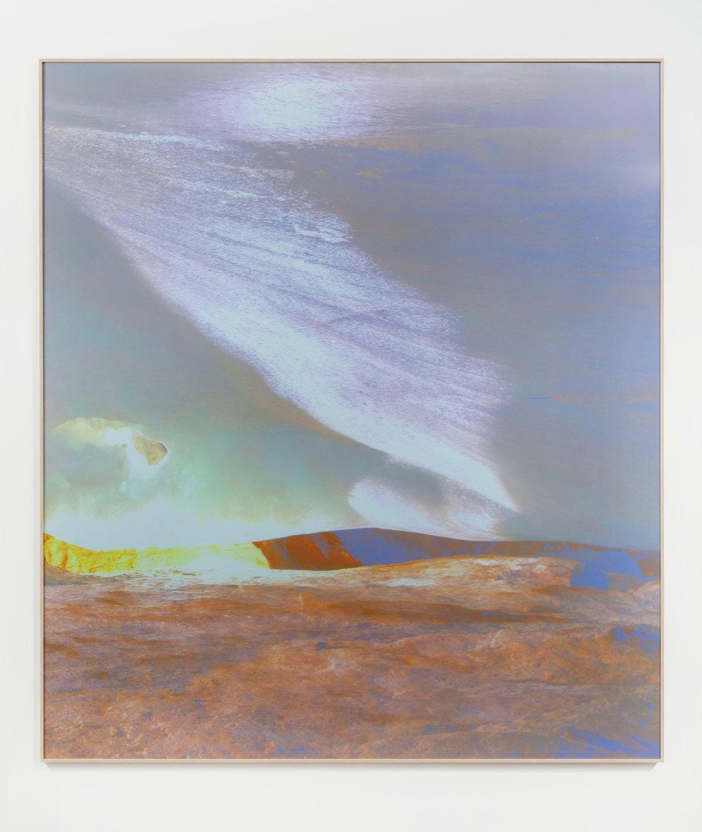 Beyond the Oecumene / Part V,  2019 Aquarelle, wax pastels, UV-print on aluminium beneath linear Plexiglas 180 x 160 cm (71 x 63 in)