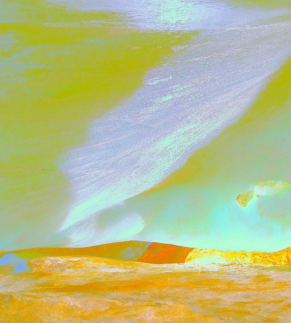 Beyond the Oecumene / Part VI,  2019 Aquarelle, wax pastels, UV-print on aluminium beneath linear Plexiglas 180 x 160 cm (71 x 63 in)