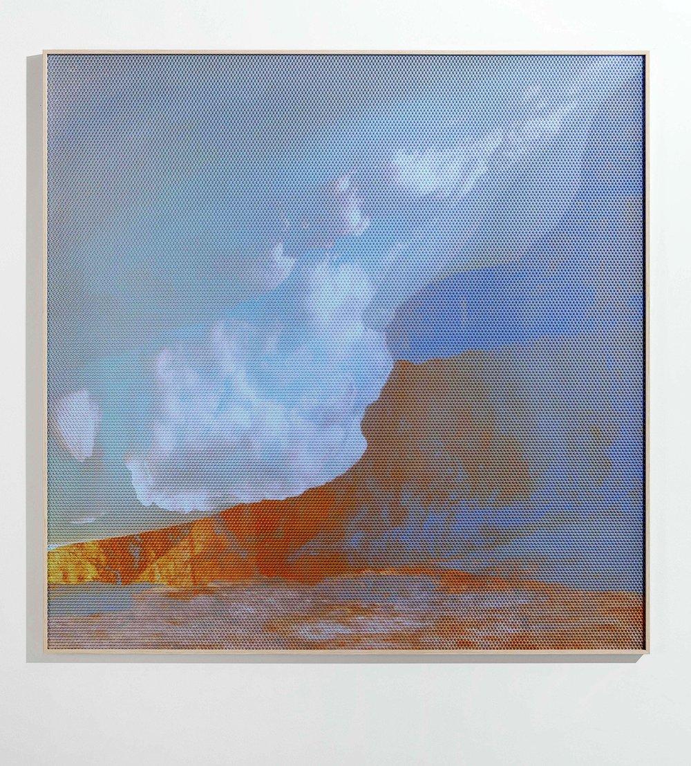Beyond the Oecumene / Part VII,  2019 Aquarelle, wax pastels, UV-print on aluminium beneath polygonal Plexiglas 120 x 120 cm (47 x 47 in)