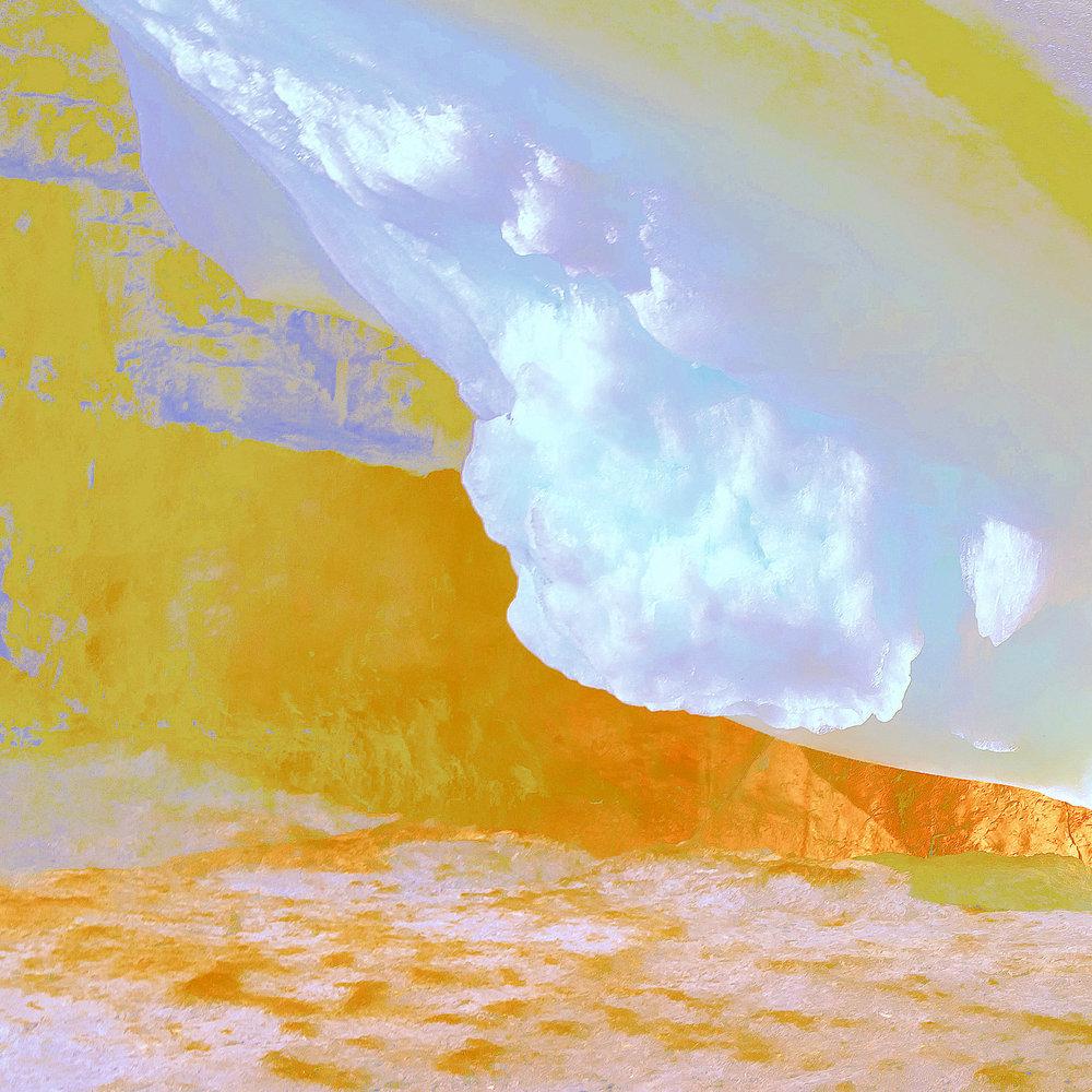 Beyond the Oecumene / Part VIII,  2019 Aquarelle, wax pastels, UV-print on aluminium beneath polygonal Plexiglas 140 x 140 cm (55 x 55 in)