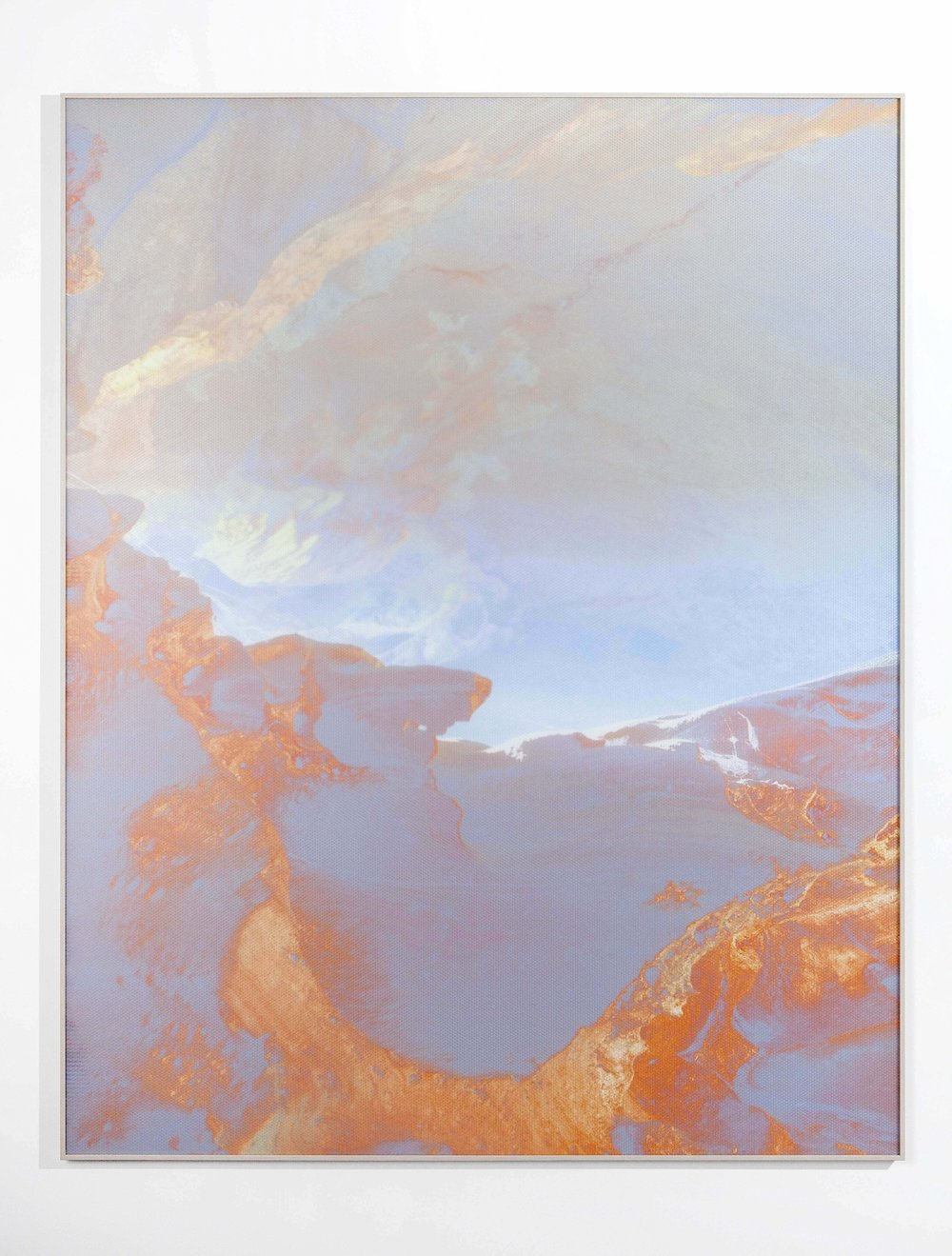 Beyond the Oecumene / Part IX,  2019 Aquarelle, wax pastels, UV-print on aluminium beneath marbled Plexiglas 190 x 150 cm (75 x 59 in)