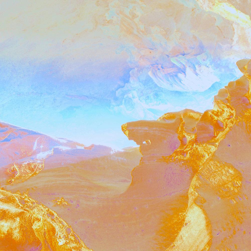 Beyond the Oecumene / Part X,  2019 Aquarelle, wax pastels, UV-print on aluminium beneath marbled Plexiglas 150 x 150 cm (59 x 59 in)