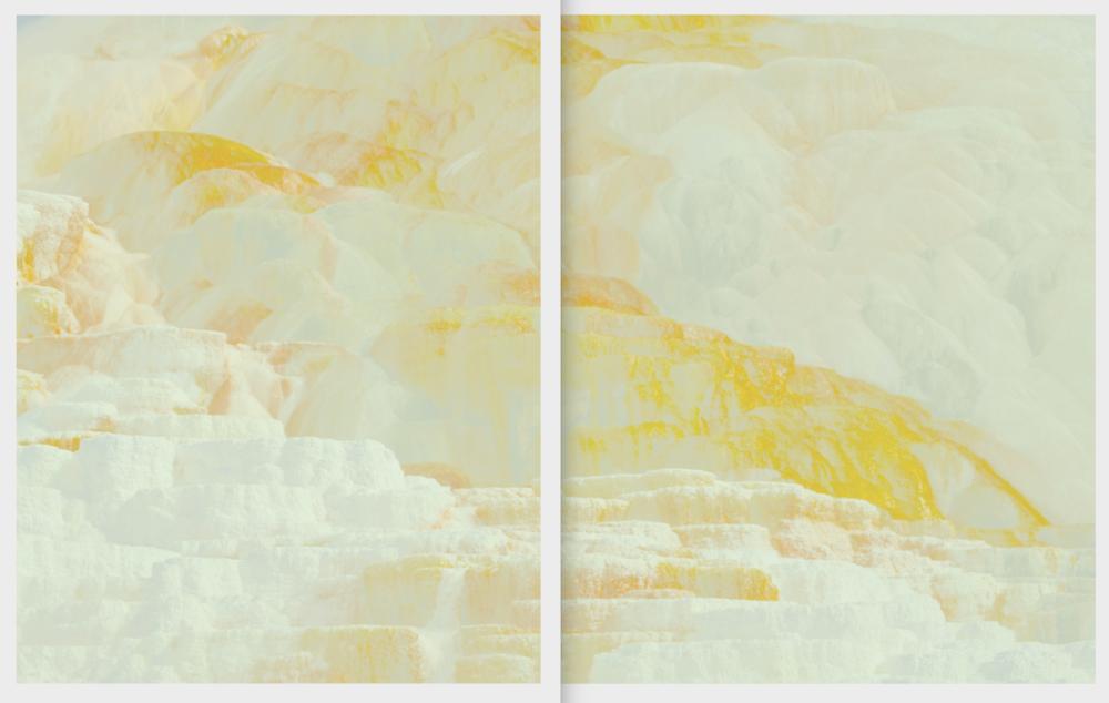Beyond the Oecumene / Part XIX (Diptych),  2019 Wax pastels, UV-print on aluminium beneath linear Plexiglas 300 x 170 cm (118 x 67 in)
