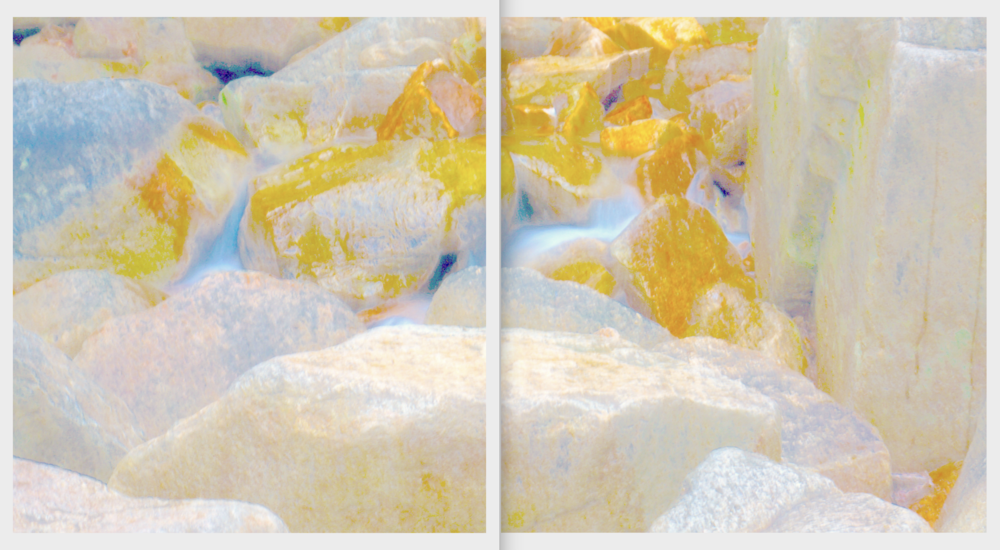 Beyond the Oecumene / Part XXI (Diptych),  2019 Aquarelle, wax pastels, UV-print on aluminium beneath marbled Plexiglas 300 x 160 cm (118 x 63 in)