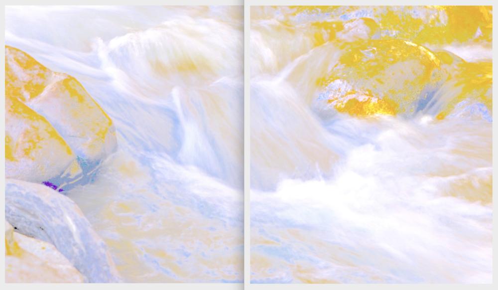 Beyond the Oecumene / Part XXVIII (Diptych),  2019 Aquarelle, wax pastels, UV-print on aluminium beneath marbled Plexiglas 300 x 160 cm (118 x 63 in)