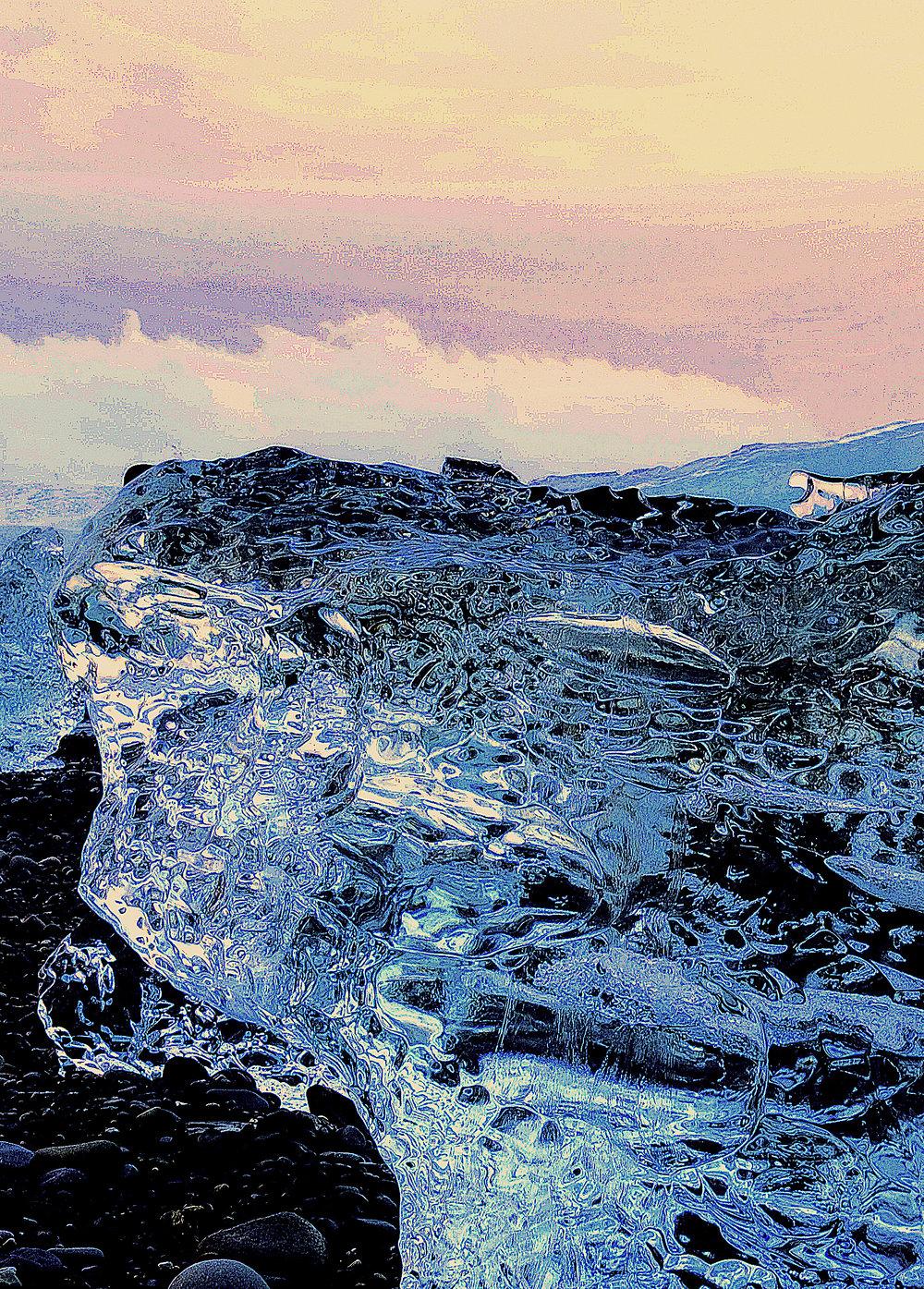 Beneath the Cryosphere / Part II,  2019 Aquarelle, wax pastels, UV-print on mirror beneath structured Plexiglas 160 x 120 cm (63 x 47 in)