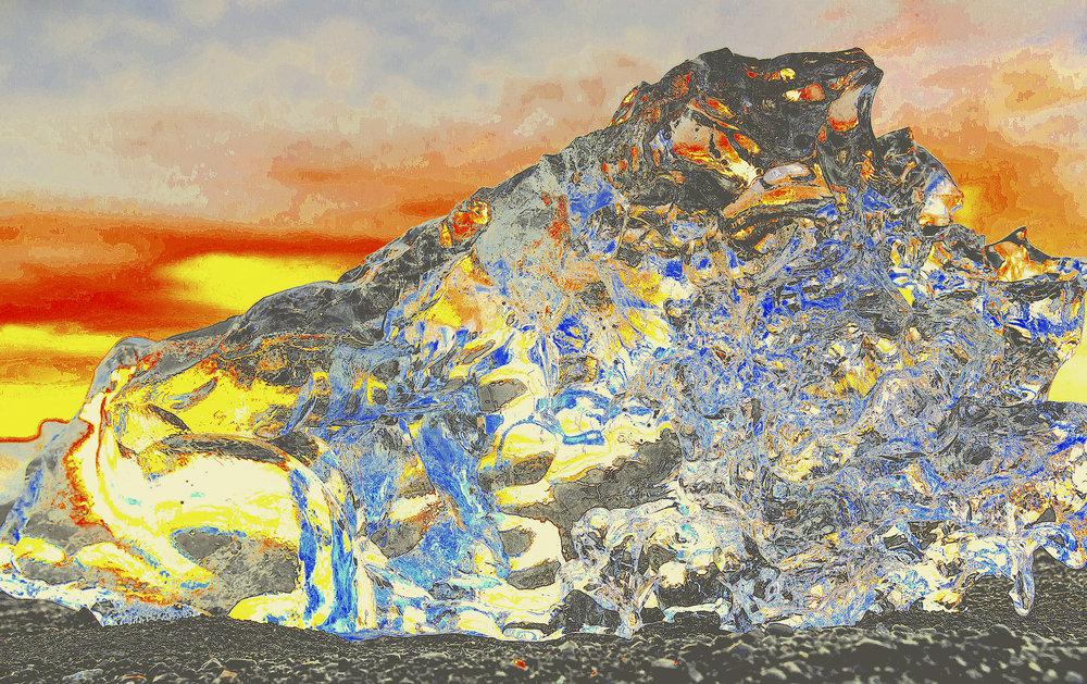 Beneath the Cryosphere / Part IV,  2019 Aquarelle, wax pastels, UV-print on mirror beneath structured Plexiglas 180 x 120 cm (71 x 47 in)