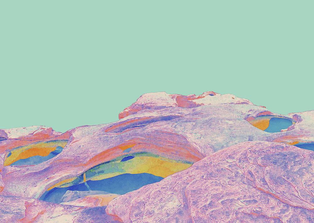 Beyond the Oecumene / Part XXXVI,  2019 Aquarelle, wax pastels, UV-print on mirror beneath structured Plexiglas 150 x 120 cm (59 x 47 in)