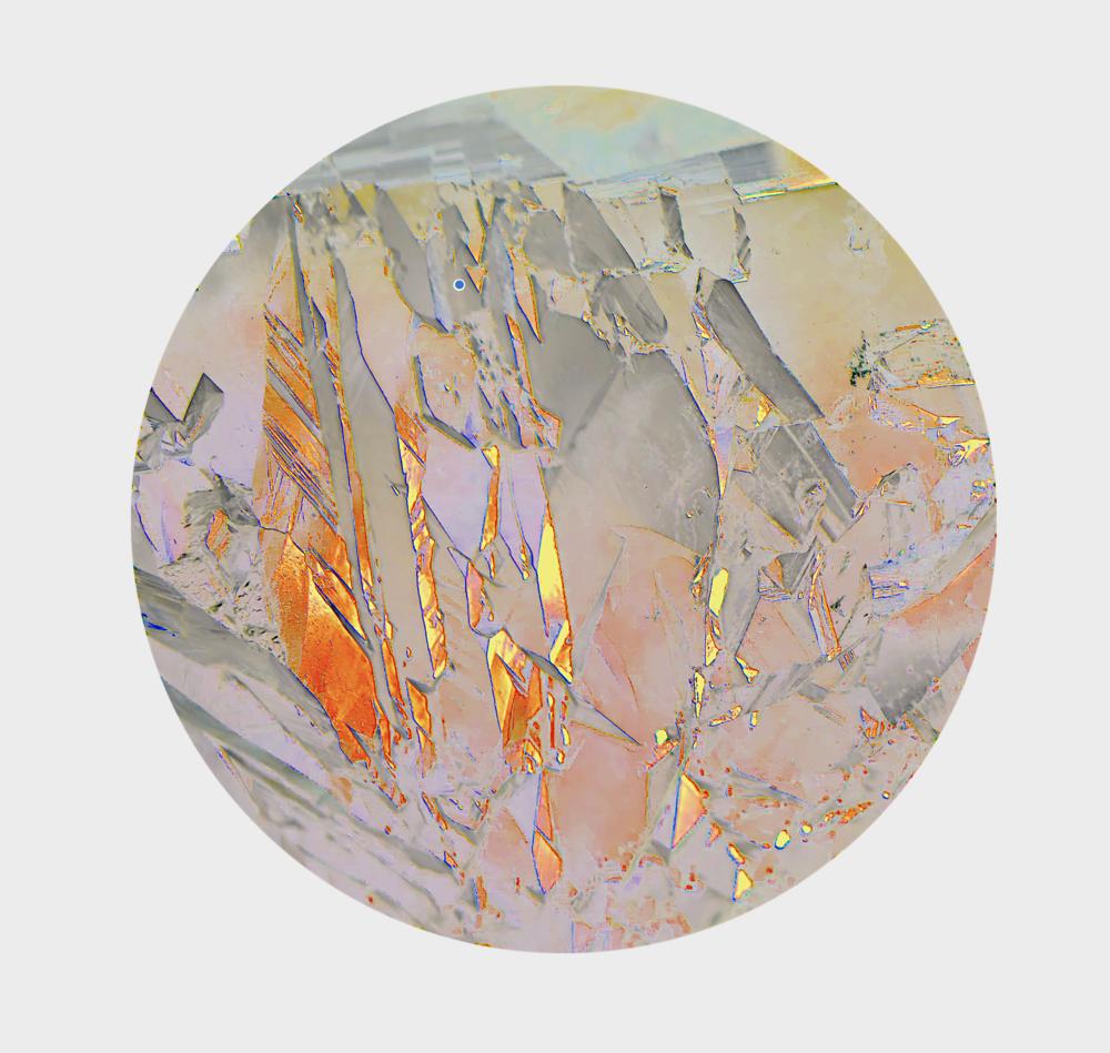 Atlas Obscura (The Dictaean Cave) / Part XXII,  2019 Wax pastels, UV-print on mirror beneath structured Plexiglas 160 x 160 cm (63 x 63 in)