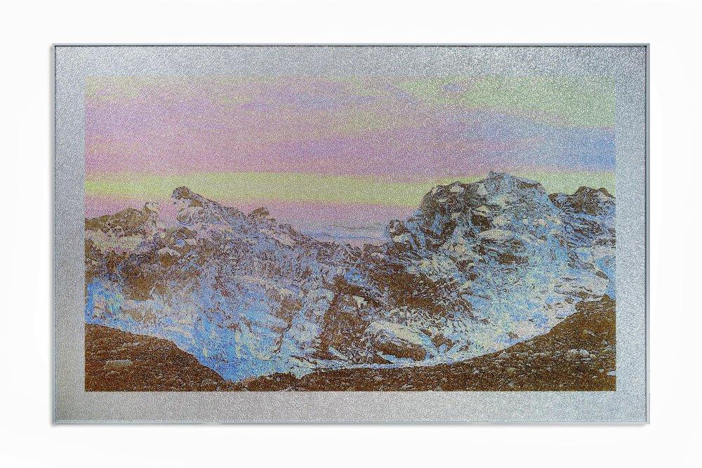 Beneath the Cryosphere / Part I,  2019 Aquarelle, wax pastels, UV-print on mirror beneath structured Plexiglas 190 x 120 cm (75 x 47 in)