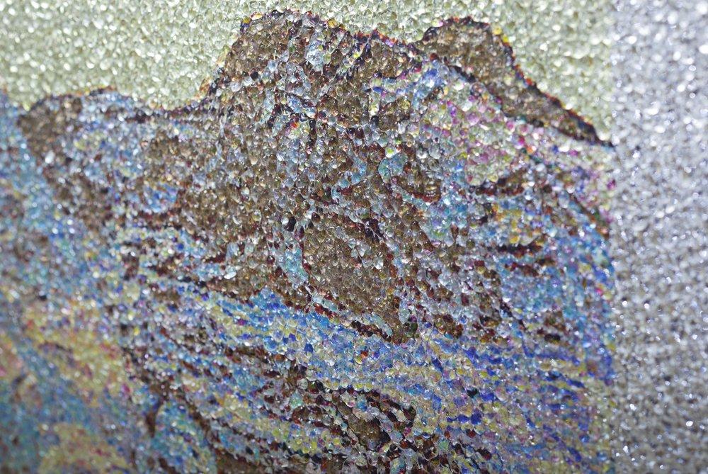 Beneath the Cryosphere / Part I,  2019 - Detail Aquarelle, wax pastels, UV-print on mirror beneath structured Plexiglas