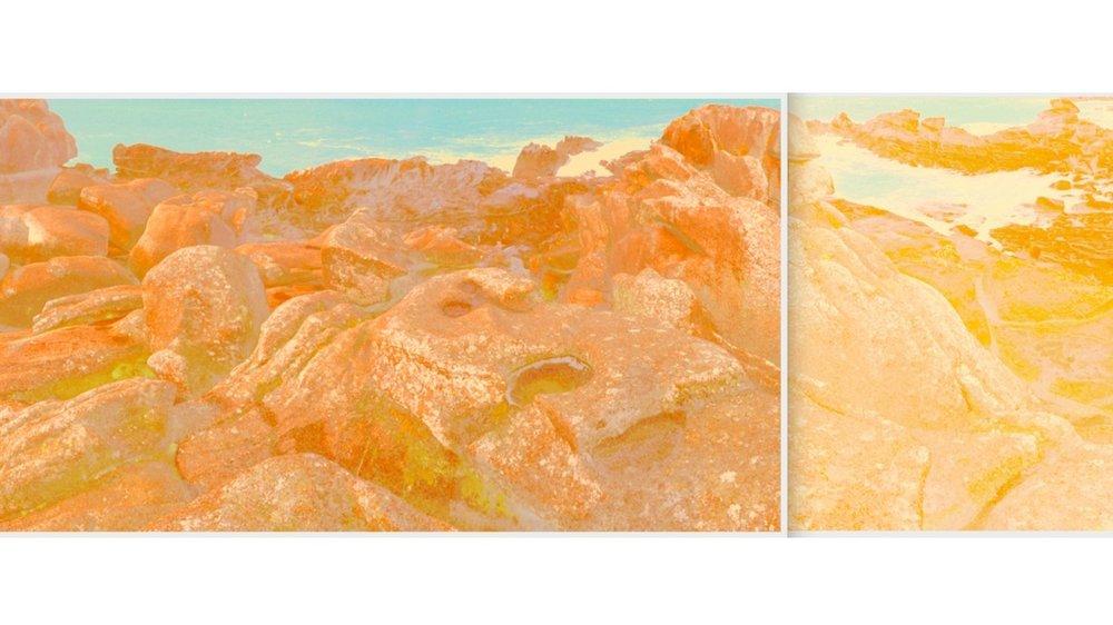 Beyond the Oecumene / Part XVI (Diptych),  2019 Aquarelle, wax pastels, UV-print on mirror beneath structured Plexiglas 300 x 100 cm (118 x 39 in)