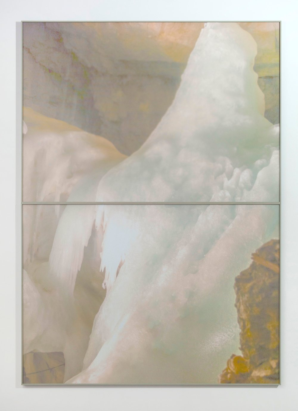 Atlas Obscura (The Dictaean Cave) / Part V (Diptych),  2019 Wax pastels, UV-print on aluminium beneath marbled Plexiglas 240 x 170 cm (95 x 67 in)