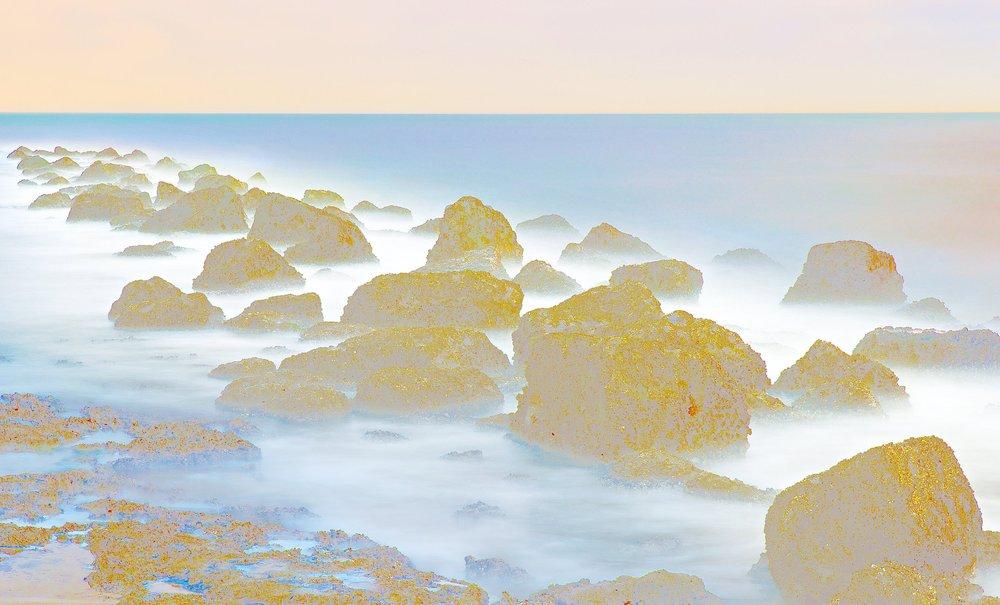 Beyond the Oecumene / Part XXXIX,  2019 Wax pastels, UV-print on gold Alu-dibond 180 x 140 cm (71 x 55 in)