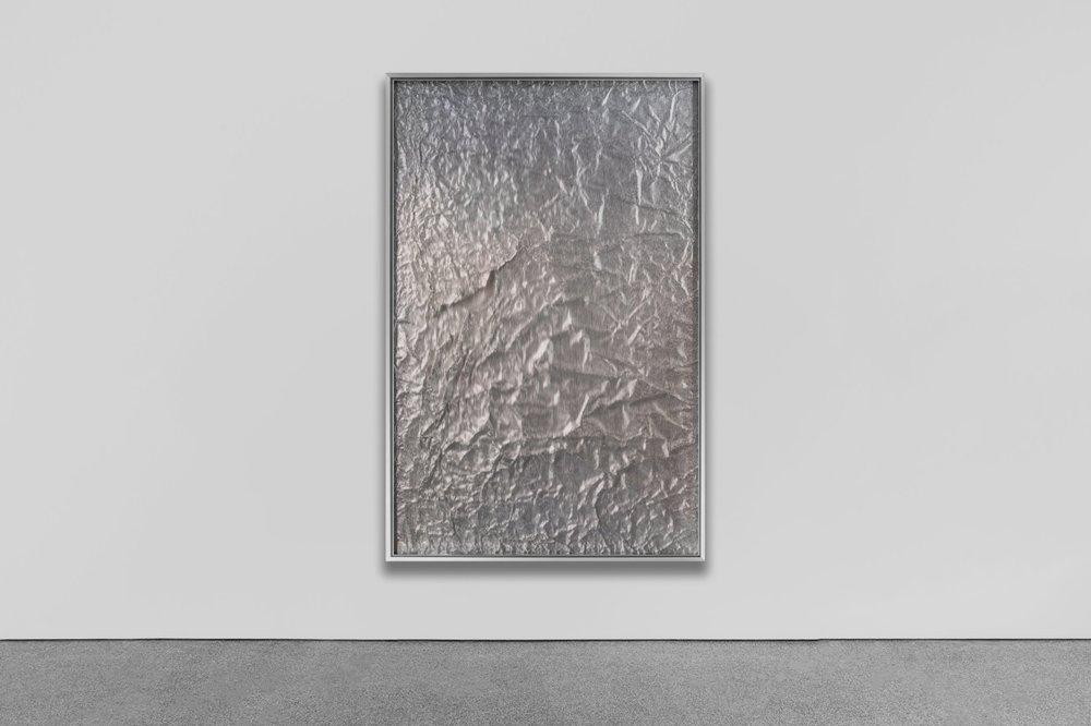 Tabula Rasa / Part VII , 2017  -  Installation view    Industrial aluminium beneath structured Plexiglas, aluminium frame 150 x 100 cm (59 x 39 in)