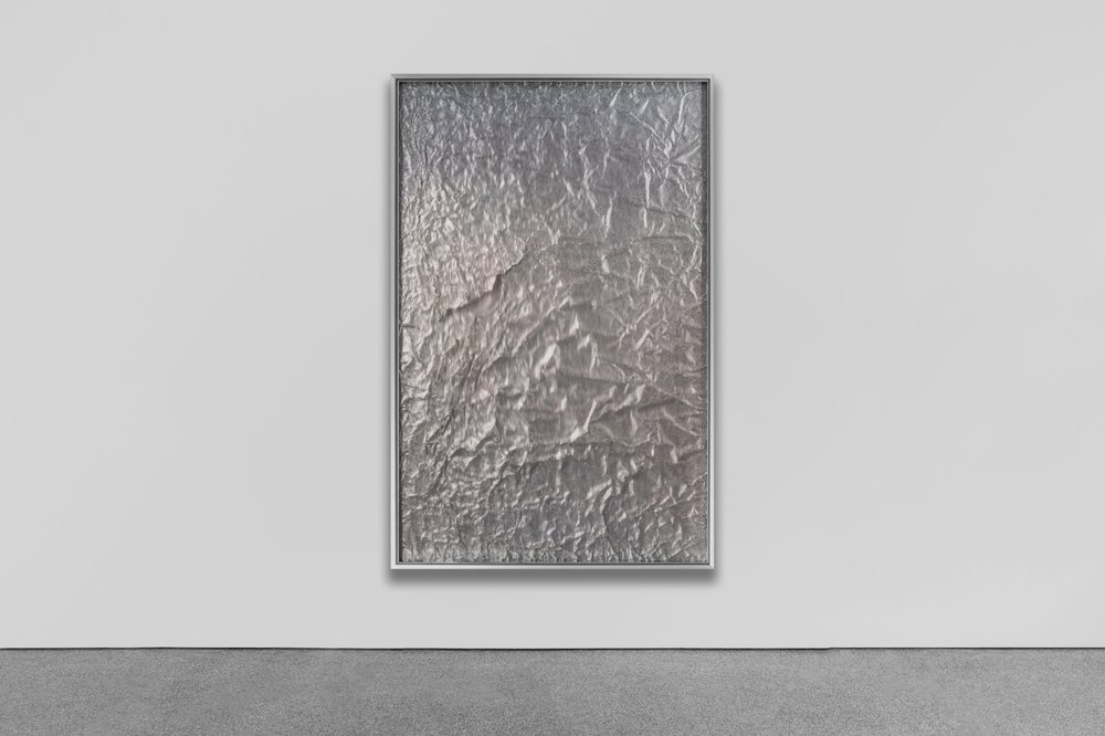 Tabula Rasa / Part VII -  Installation view  (2017) Aluminium sheet on wood beneath structured Plexiglas, aluminium frame structure. 150 x 100 cm (59 x 39 in.)