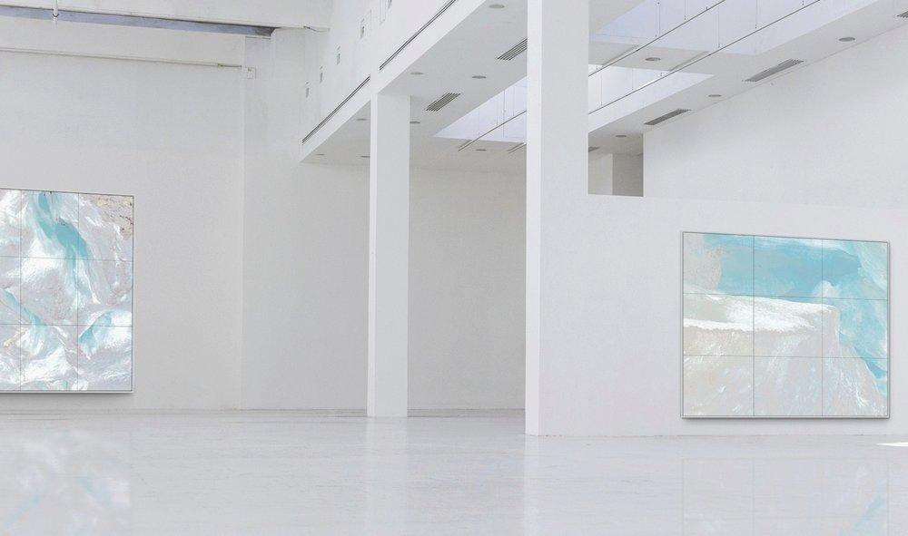 Piqaluyak / Part IV, V,  2019 - Installation view Aquarelle, wax pastels, UV-print on paper beneath structured Plexiglas 230 x 200 cm (91 x 79 in), 270 x 240 cm (106 x 95 in)
