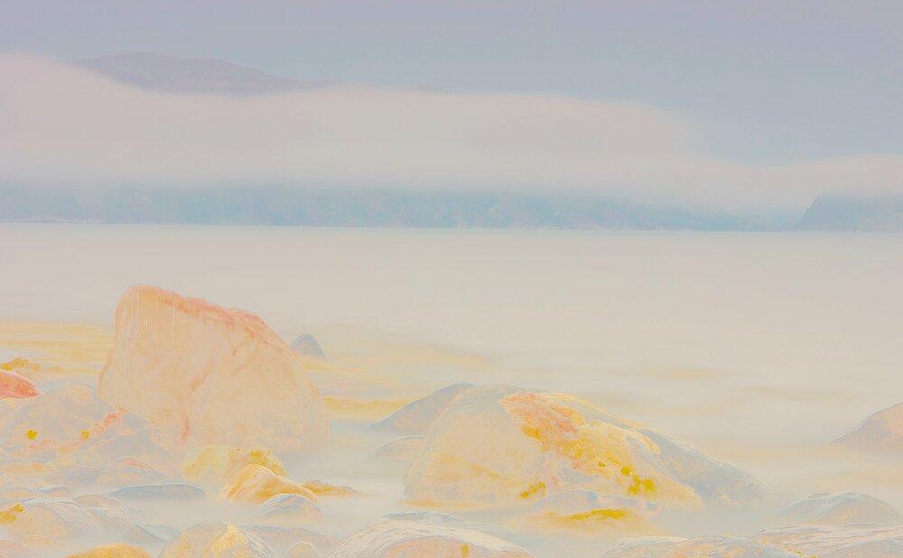 Beyond the Oecumene / Part XL,  2019 Wax pastels, UV-print on gold Alu-dibond 180 x 140 cm (71 x 55 in)