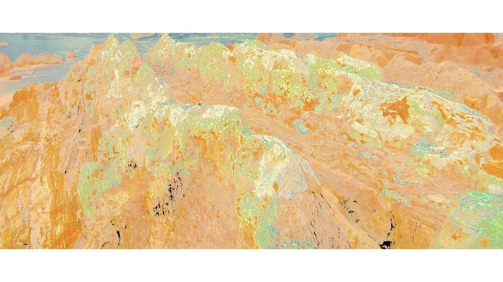 Beyond the Oecumene / Part XV,  2019 Wax pastels, UV-print on gold Alu-Dibond 600 x 200 cm (236 x 79 in)