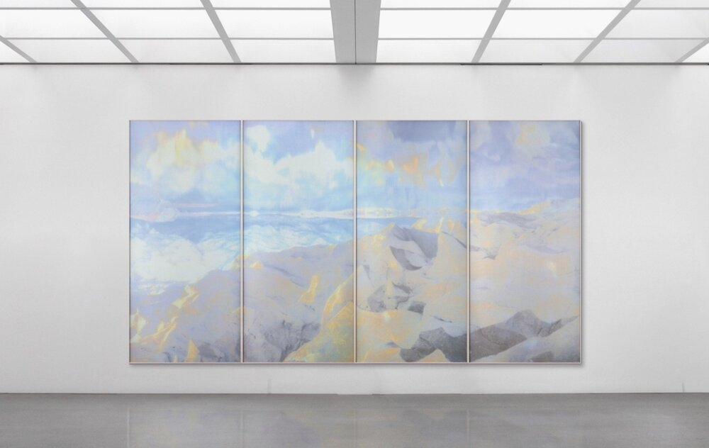 Beyond the Oecumene / Part I (Quadriptych),  2019 - Installation view Aquarelle, wax pastels, UV-print on aluminium beneath marbled Plexiglas 360 x 200 cm (142 x 79 in)