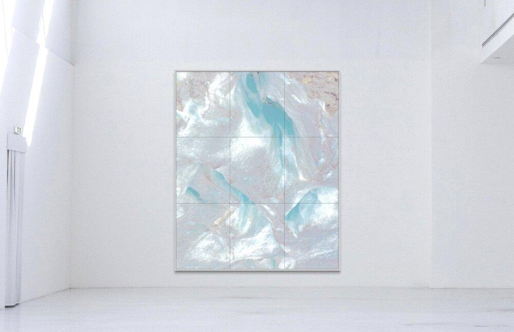 Piqaluyak / Part IV,  2019 - Installation view Aquarelle, wax pastels, UV-print on paper beneath structured Plexiglas 230 x 200 cm (91 x 79 in)
