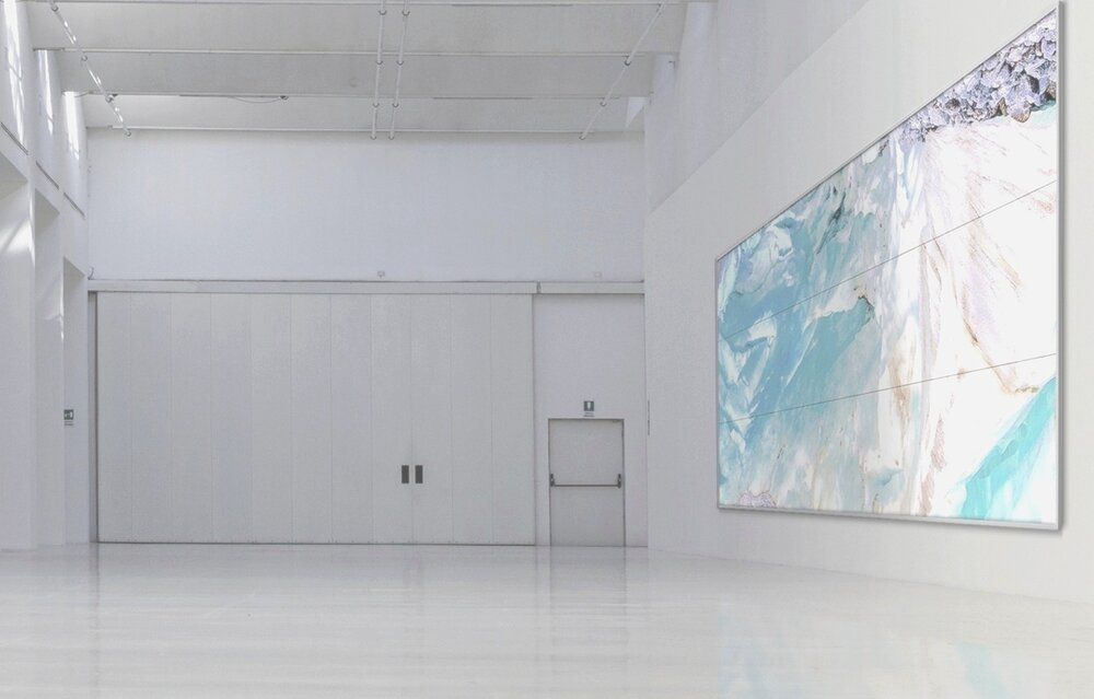 Piqaluyak / Part VII,  2019 - Installation view 9 panel LED screens 540 x 210 cm (213 x 83 in)