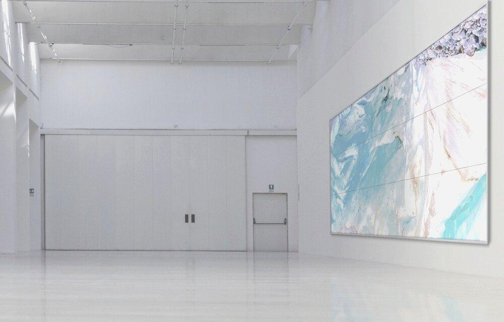 Piqaluyak / Part VIII,  2019 - Installation view Aquarelle, wax pastels, UV-print on paper beneath structured Plexiglas 540 x 210 cm (213 x 83 in)