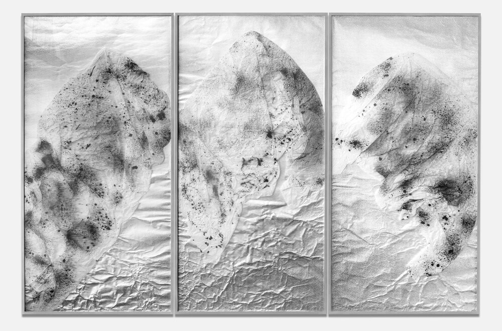 Requiem for the Present Eternal / Triptych I (2017) Ink on Chinese calligraphy paper,aluminium beneath linear Plexiglas. 200 x 300 cm (79 x 118 in.)
