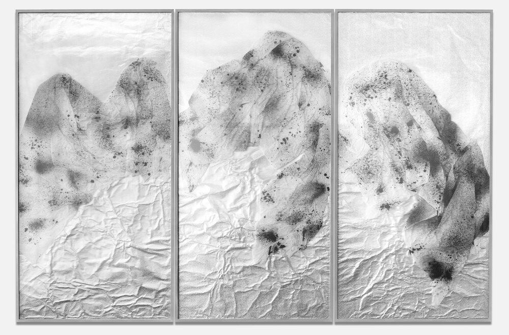 Requiem for the Present Eternal / Triptych II (2017) Ink on Chinese calligraphy paper,aluminium beneath linear Plexiglas. 200 x 300 cm (79 x 118 in.)