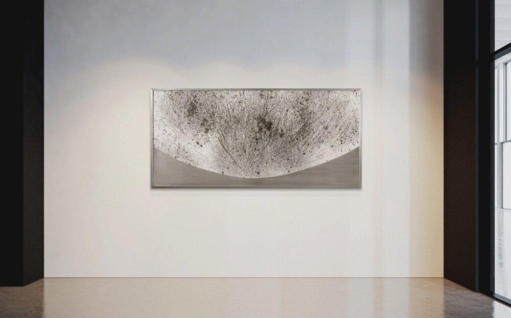 Verklärte Nacht (Transfigured Night) / Part III,  2018 - Installation view Ink on Xuan paper on mirror beneath linear Plexiglas, aluminium frame 150 x 70 cm (59 x 28 in)