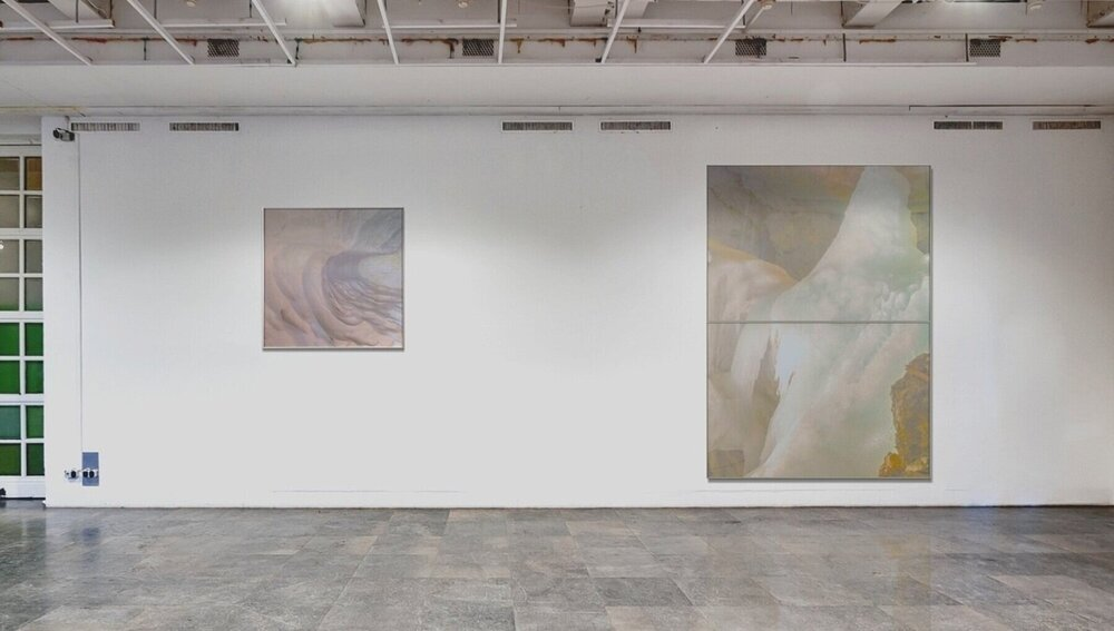 Atlas Obscura (The Dictaean Cave) / Part III, V, 2019 - Installation view Wax pastels, UV-print on aluminium beneath linear / marbled Plexiglas 90 x 90 cm (35 x 35 in), 240 x 170 cm (95 x 67 in)