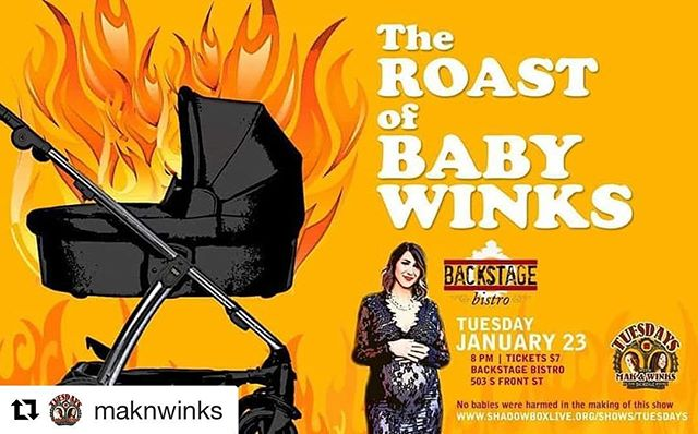 #Repost @maknwinks with @get_repost ・・・ Winks is having a baby! Join us Tuesday for a good ol fashioned baby roast!!! 🔥👶🔥 Ticket link in bio #maknwinks #backstagebistro #Tuesdays #comedyshow #roast #comedyroast #babyroast #ColumbusLaughs #ColumbusComedy #lifeincbus #linkinbio