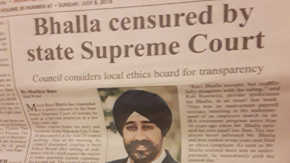 ICYMI - the cover story from The Hoboken Reporter reporting on the Supreme Court's censure of Ravi Bhalla