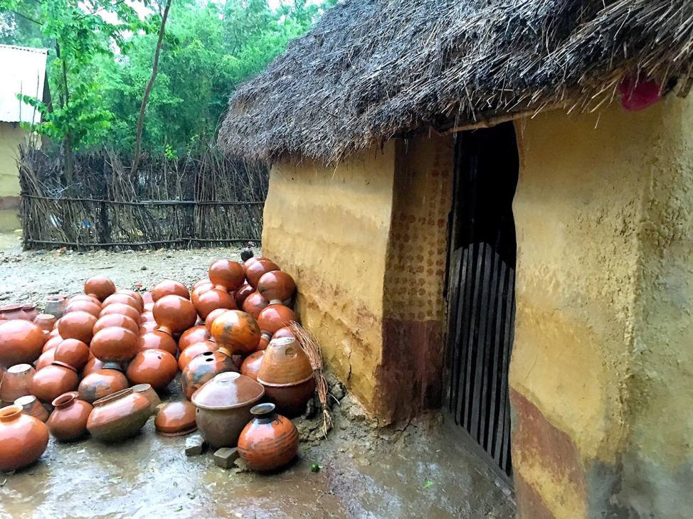 The clay pots Dhankumari's husband makes