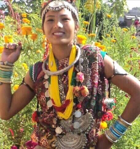 Celebrating Maghi festival in her traditional Tharu attire
