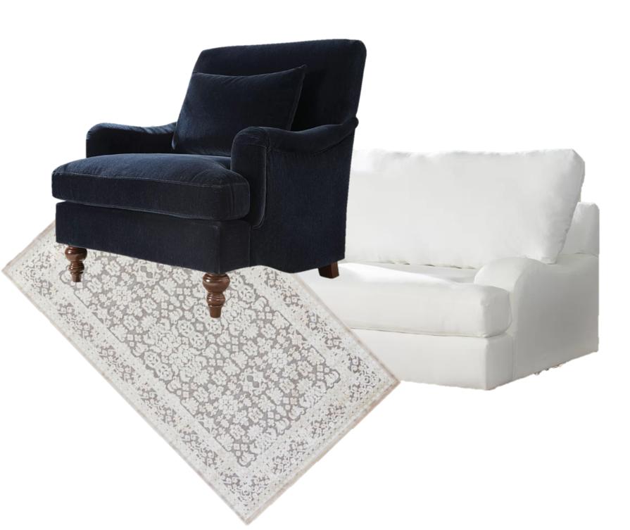 Blue chair  //  Rug  //  White Chair