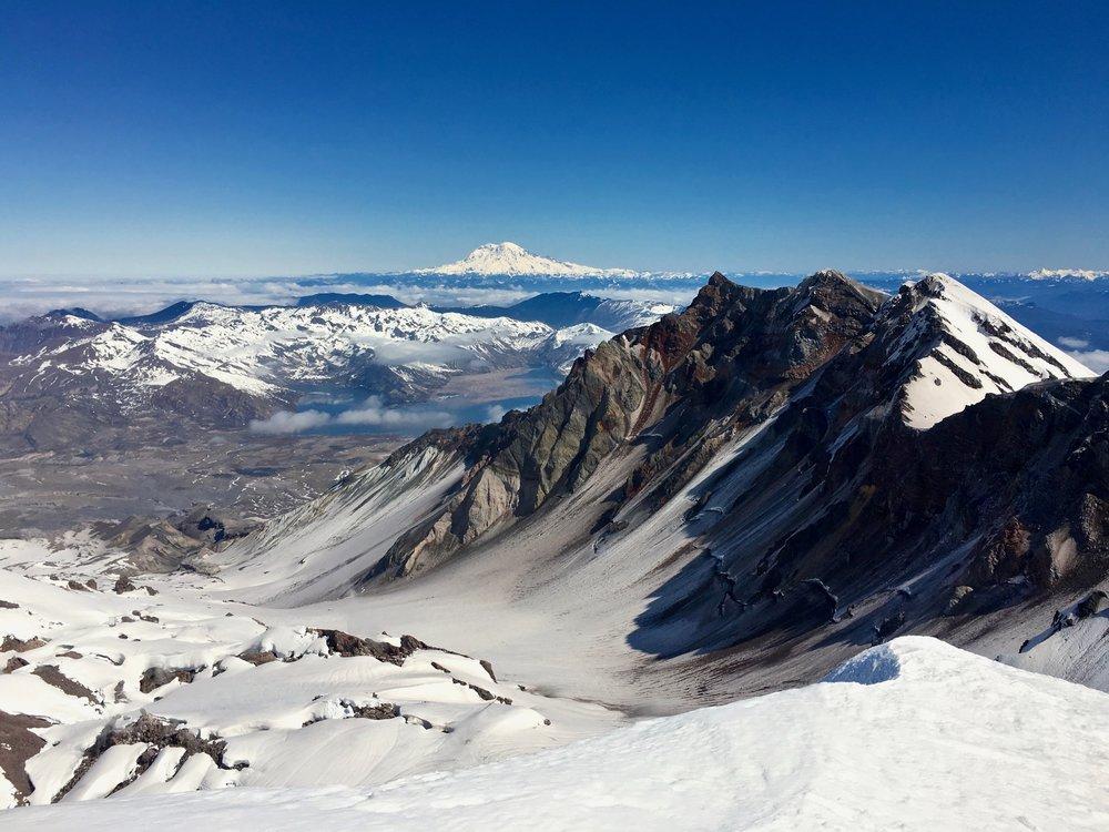 Mount Rainier across the summit crater