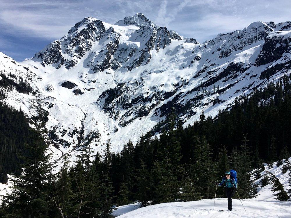 Skinning back to the ski area boundary