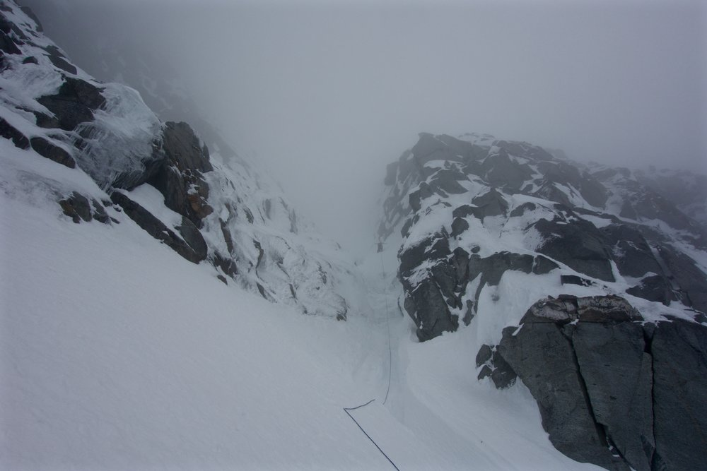 Dale disappearing into the couloir
