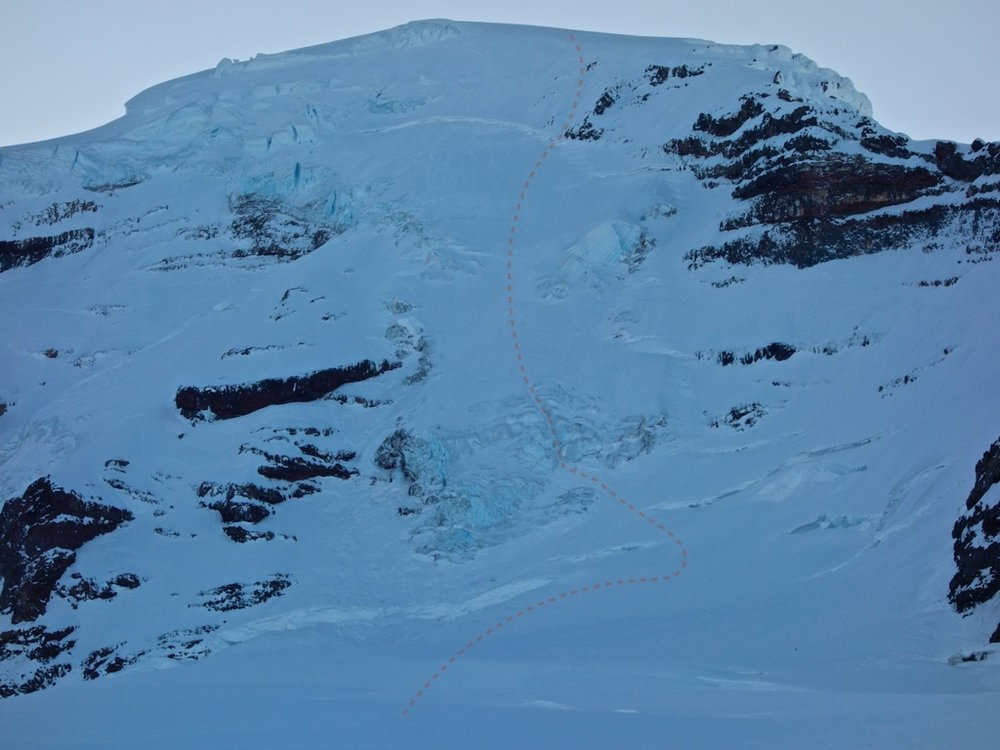 Our relatively direct line up the Coleman Headwall