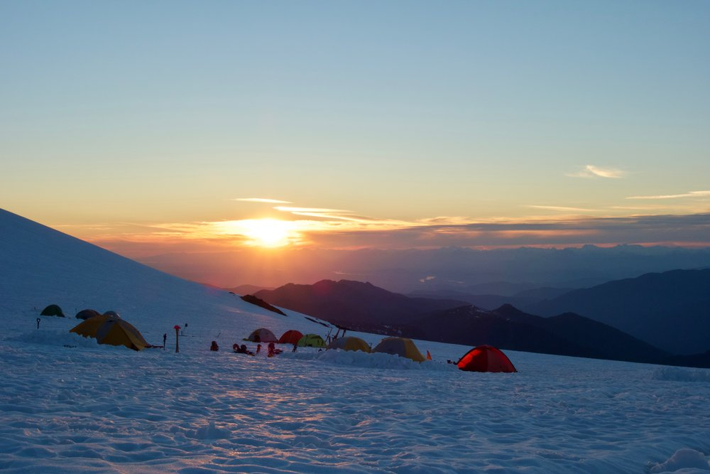 Sunset at glacier camp