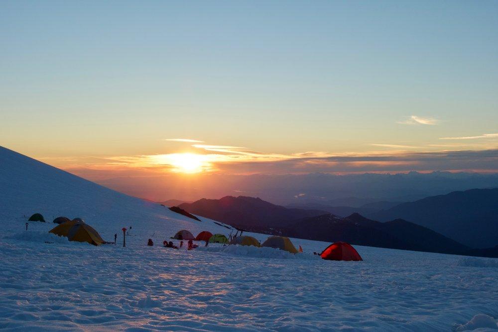 Sunset at glacier camp