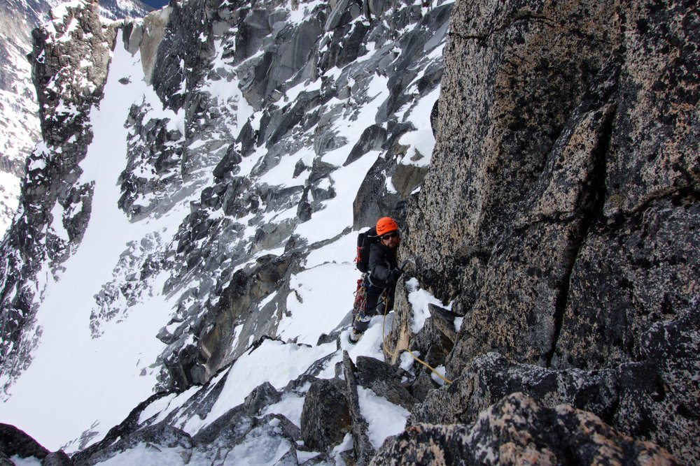 Moving through mixed terrain on the West Ridge