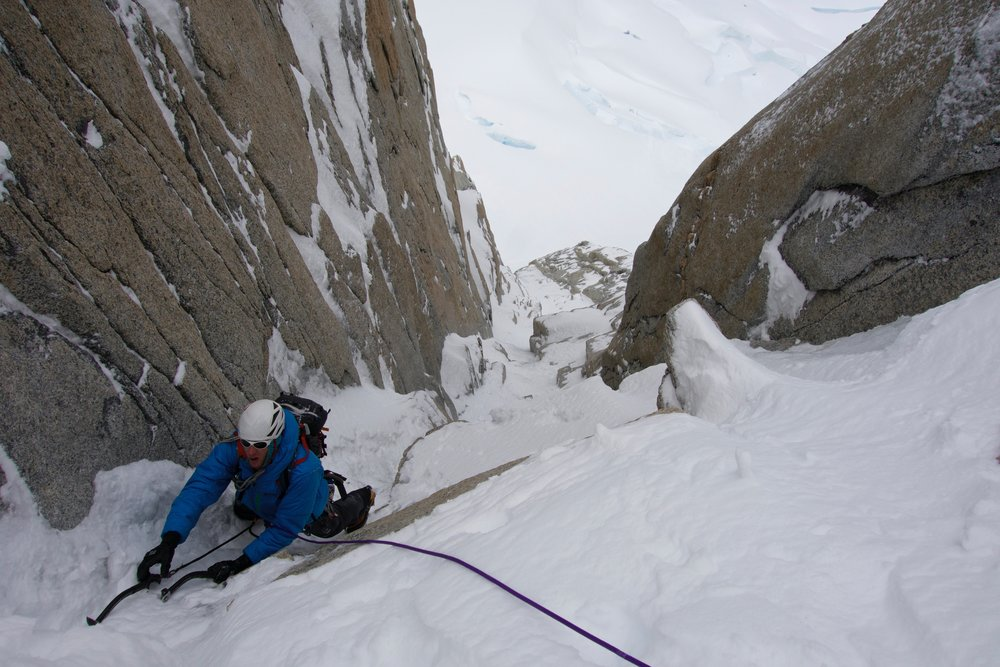 Nearing the top of the couloir. Photo by Dale Apgar.