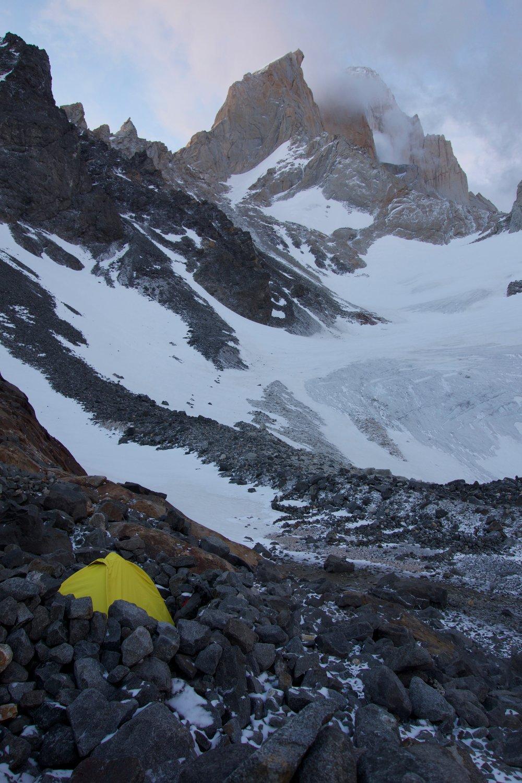 Piedra Negra camp with Guillaumet behind