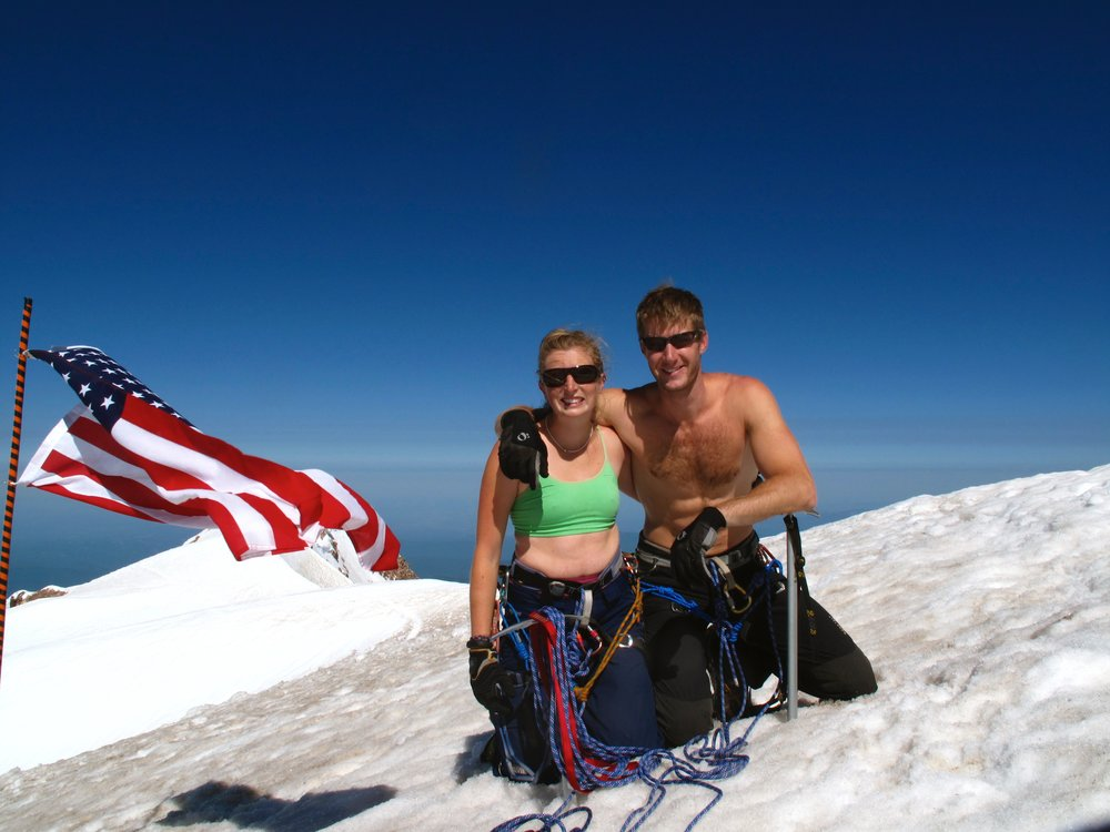Summit with an especially photogenic American flag